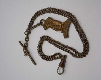 Antique Victorian Art Deco Pocket Watch Chain Fob with Jack-O-Lantern Charm AWESOME!
