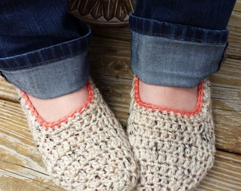 Comfy Women's Slippers, Oatmeal, Slipper Socks, House Shoes, Comfy Soft, Unique Gift, Gift for Her, Hand Crochet, Sock