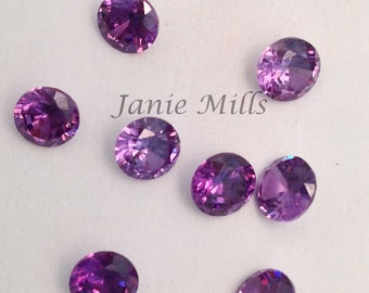 Amethyst faceted gemstone, 5mm round, synthetic