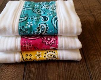 Premium diaper burp cloths, set of 3, baby girl, bandana print
