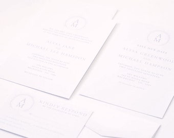 ALYSAWedding Suite - SAMPLE - Wedding Invitation, MONOGRAM Wedding Invitation, Modern Wedding Invitations, Cotton Wedding Invites