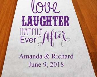 Personalized Love Laughter Happily Ever After  Aisle Runner (MIC-PLUVAR51)