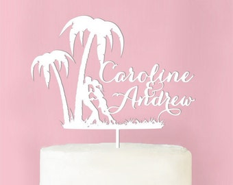 Personalized Palm Tree Wedding Cake Topper (MICPPMTP62-W)