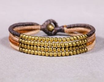 Beaded Bracelet-Brown Shades Bracelet- unisex Bracelet-  B-49