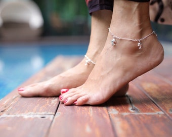 Silver Dolphin Anklet,Silver Charm,Sterling Silver Anklet, Silver Anklet, Silver Foot Chain, Anklet,(AS 31)