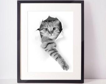 SALE - 50% Cat print, cat nursery, cat art, black cat, pets print, kids art, children room decor, painting cat, black and white decor