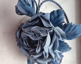 Bridal denim flower, denim rose headband, denim Floral Headband, denim Bridal Headpiece, Flower Girl Headband, denim Wedding Headband