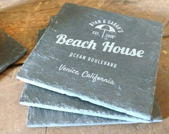 Custom Coaster, Slate Coaster, Personalized Coasters, Wedding Gift,Engraved Drink Coaster,Beach House Coaster,Coaster -Set of 4 -LES1000001