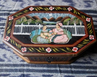 Folk Art Hand Painted Rosewood Box made in India