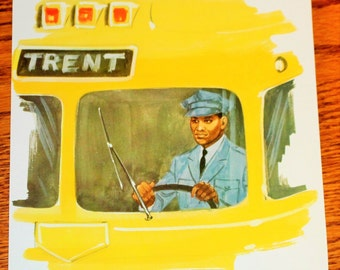 Vintage Double-Sided Large Flash Card - 1960's - Bus Driver - Retro Yellow Bus - Retro Decor