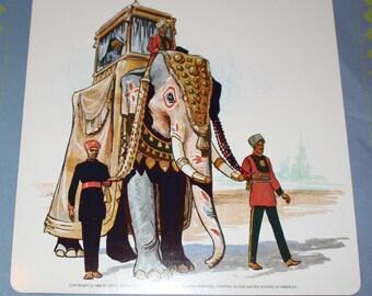 Large Elephant flashcard - double-sided with yellow taxi on back - 1968 - Elephant India Vintage Print