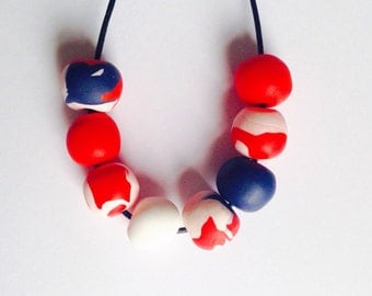 Polymer Clay red white and blue beaded necklace