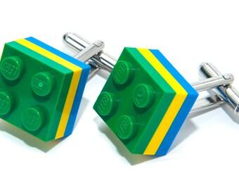 Brazil Brasil Lego Brick Cufflinks Wedding Cuff Link Gift Birthday With Gift Bag Flag