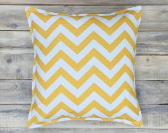 READY TO SHIP! Yellow Zigzag Pillow with Cotton Cover 40x40 cm