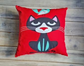 Cat&Bird pillow