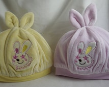 Baby Bunny Hat - plush soft material - bunny ears - cotton lining.