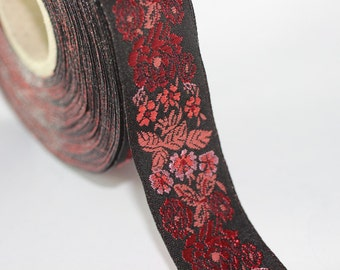 35 mm Red/Black Floral Embroidered ribbon (1.37 inches) -  Vintage Jacquard -Floral ribbon - Sewing trim - Jacquard trim