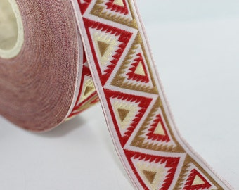 25 mm Red/Milk Brown Chevron Jacquard ribbon (0.98 inches) -Decorative Craft Ribbon - Sewing - Jacquard trim - Trim