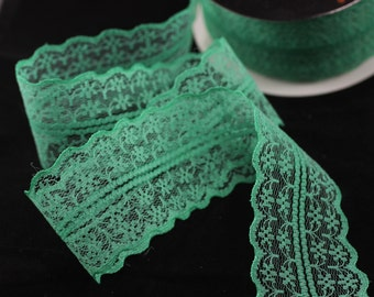 45 mm Green Lace trim  - Seam(1.77 inches) Binding hem tape chantilly lace trim for bridal, baby, lingerie, hair accessories  -