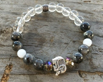 Elephant with Labradorite, White Jasper and Quartz