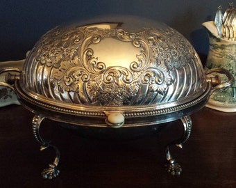 Victorian 19th Century Silverplate Serving Dish by MH & Co.