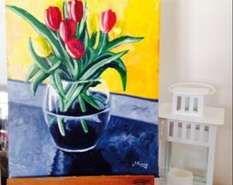 Red Tulips original acrylic painting on canvas
