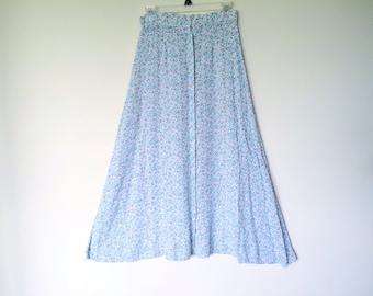 Vintage cotton button down midi maxi skirt