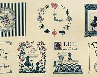 LAST STOCKS! 110cm x 58cm rare to find! Alice In Wonderland Fabric Panel Cotton Linen Blue