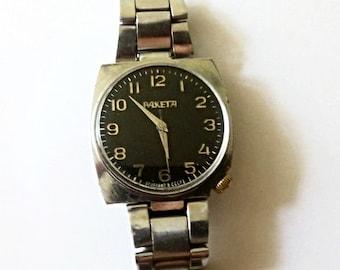 "Vintage men's watch ""Raketa "", Soviet mechanical watch, eather mens watch,wind up mens watch,simple mens watch"