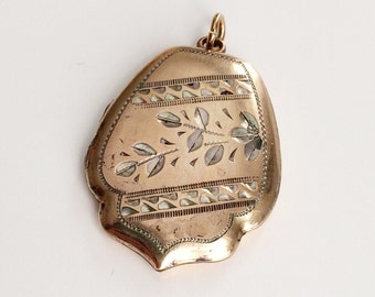 SALE * Vintage Gold-filled Diamond-cut Engraved Two-tone Locket