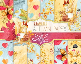 60% OFF SALE, Fall Digital Paper, Fall Watercolor Paper, Watercolor Autumn Seamless Pattern, Hand Painted Paper, Fall Seamless Paper