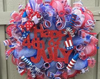 4th of July Deco Mesh Wreath, 4th of July, Deco Mesh Wreath