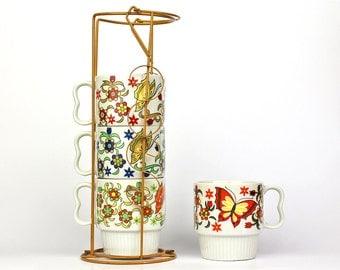 Vintage Stacking Mugs in Metal Enamel Holder, Harvest Gold, Mid Century Modern, Japan Porcelain Mugs, Vintage Cups, Butterfly Handles