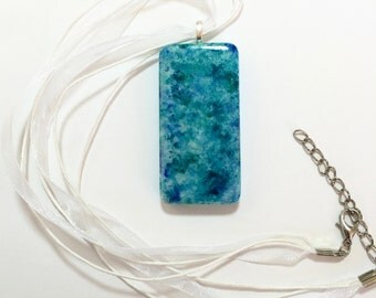 Blue Pendant Necklace - Handmade Jewelry Statement Necklace - Boho Alcohol Inks Domino - Gift for Her Bridesmaid Gift under 20 Beach Wedding