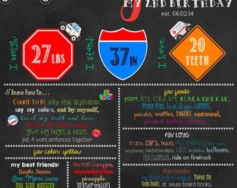 Vehicles Theme Birthday Digital Chalkboard, 2nd Birthday, Birthday Boy, Police Car, Airplane, Fire Truck