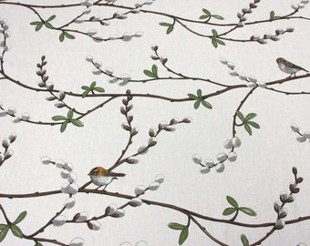cotton fabric canvas swedishbirds willow branch Arvidssons