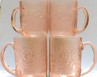 Vintage Arcoroc Rose Glass Mugs