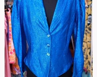 Vintage Jacket Lurex lurex 80 Vintage Jacket-80s-Made in Italy-medium size 44-balloon Sleeves.