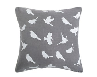 Birds of Paradise cushion in Shadow Grey