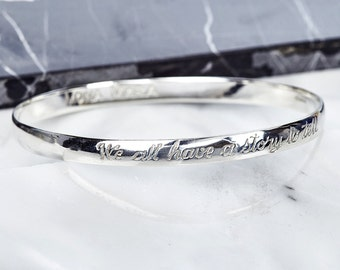 We all have a story to tell Sterling Silver Bangle