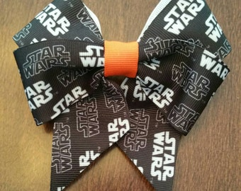 "Star Wars 4"" Black, White, Orange Grosgrain Hair Bow"