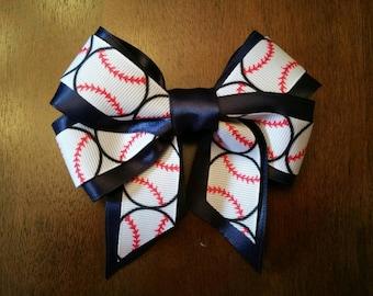"""5""""  Baseball Hair bow - Custom Colors for sports teams!"""