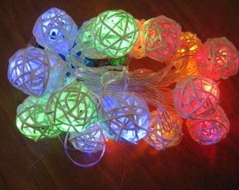 Led String Lights - Cream Rattan Balls , Night Lights, String Lights, Home Decor, Indoor Lights Battery Operated