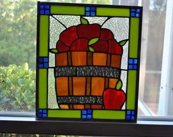 apple time stained glass panel
