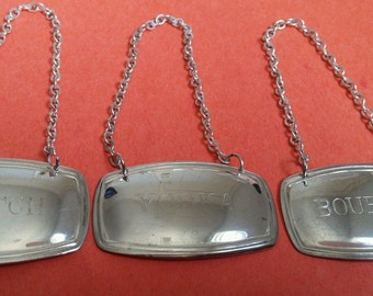 Set of 3 Silver Plate Decanture Lables, Made in England