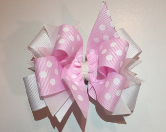 Pink and white girl hairbow
