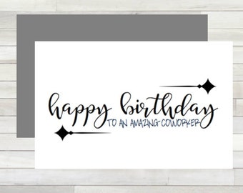 Greeting Card Happy Birthday Coworker Printable Instant Download Last Minute DIY