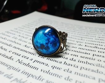 Full Blue moon ring, adjustable ring, statement ring, glass dome ring, antique bronze ring