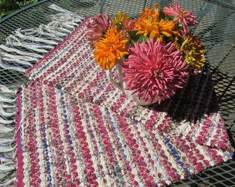 Rag runner, rag rug, hand woven, hand loomed, table runner, loom, weaving, wine, cobalt, dresser scarf