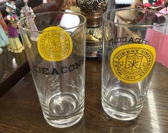 Set of 6 Vintage Wake Forest University Beverage Glasses